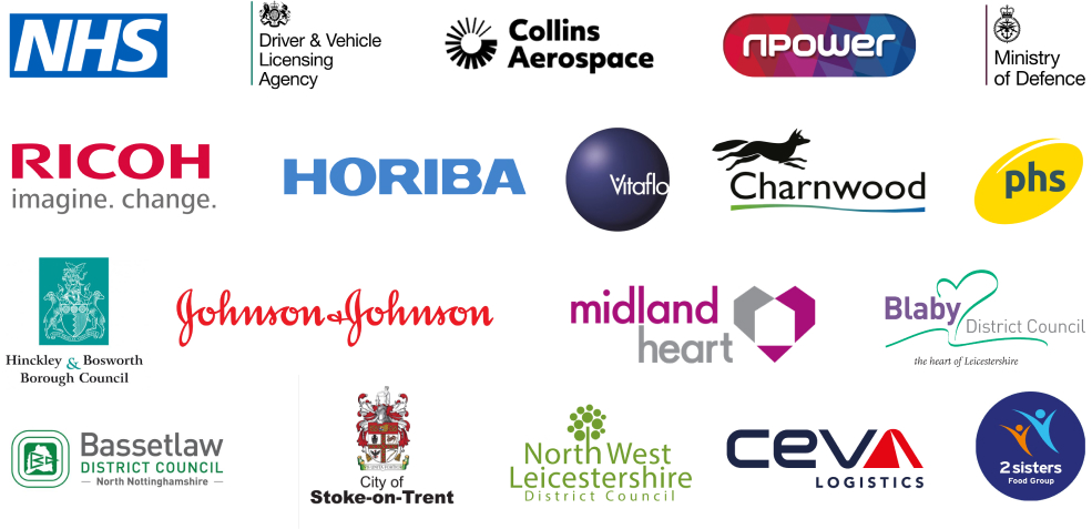 Our clients include the NHS, DVLA, MOD, PHS, Npower, Horiba, Charnwood, Ricoh, Collins Aerospace and more